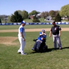 Andy Weaver throws first pitch at Nazareth - Easton Game
